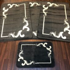 ROMANY WASHABLES GYPSY MATS 4PC SET NON SLIP SOFT LUXURY DESIGN CHARCOAL GREY